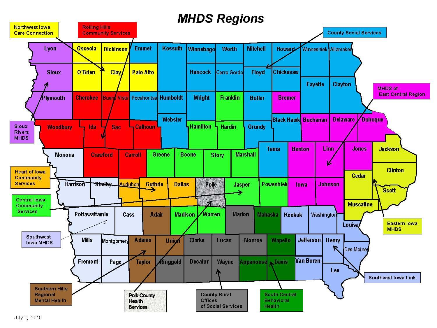 Iowa Mental Health Zones
