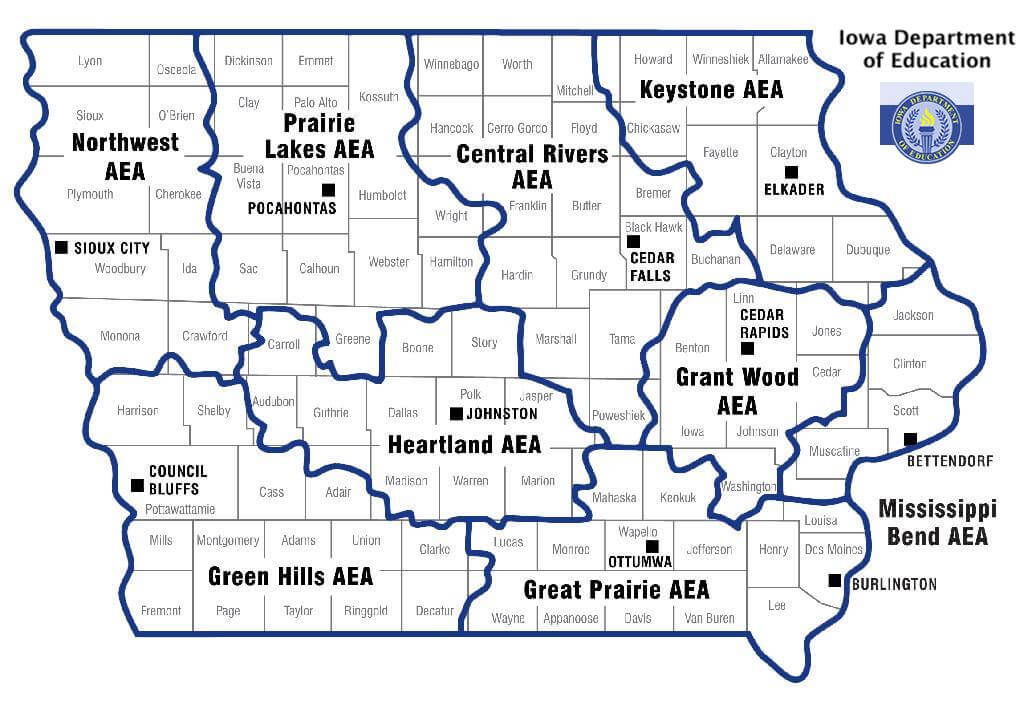 Map of Iowa's AEAs